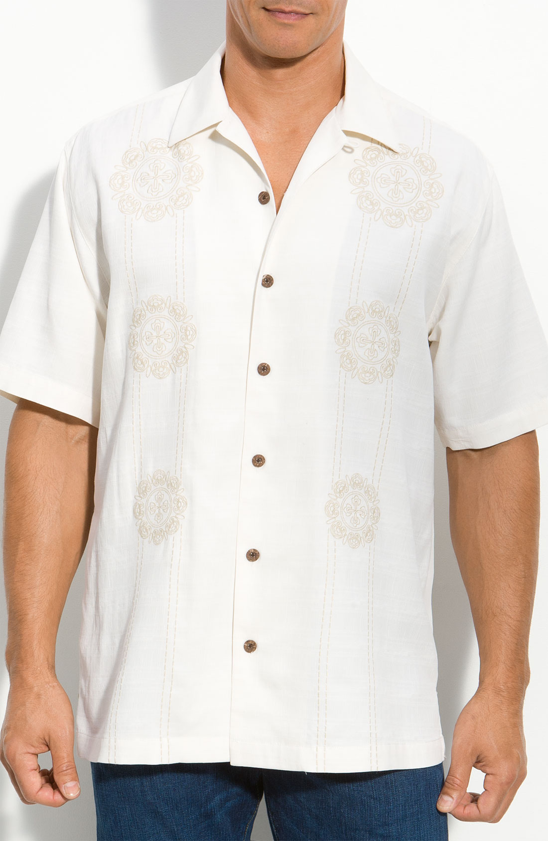 Tommy bahama medallion embroidered silk campshirt in white for Tommy bahama embroidered silk camp shirt
