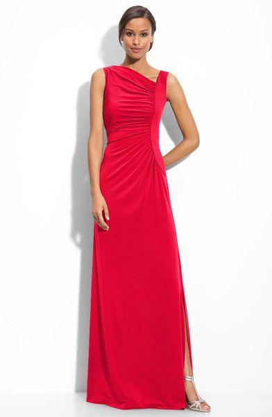 Calvin Klein Asymmetric Jersey Gown in Red