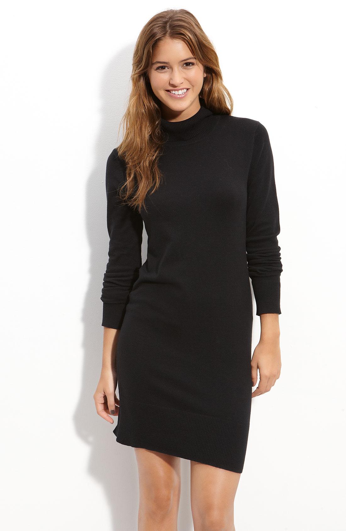 Frenchiu00ae Turtleneck Sweater Dress in Black | Lyst