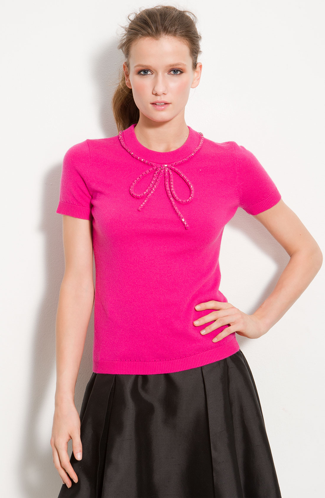 Kate spade ellis wool amp cashmere bow sweater in pink snapdragon