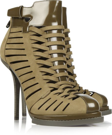 Alexander Wang Andi Suede and Glossed-leather Ankle Boots in Green