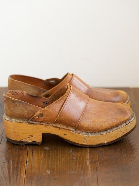 Free People Vintage Leather And Wood Clogs In Brown Lyst