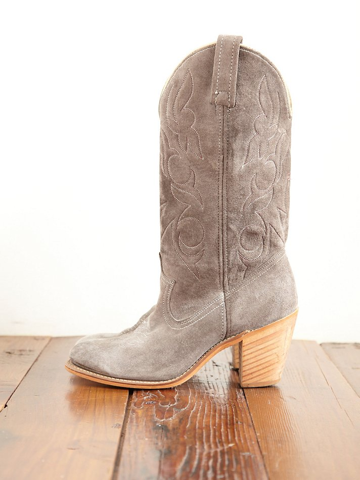Lyst Free People Vintage Suede Cowboy Boots In Gray