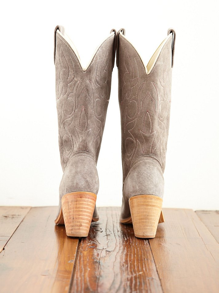 Free People Vintage Suede Cowboy Boots In Gray Lyst
