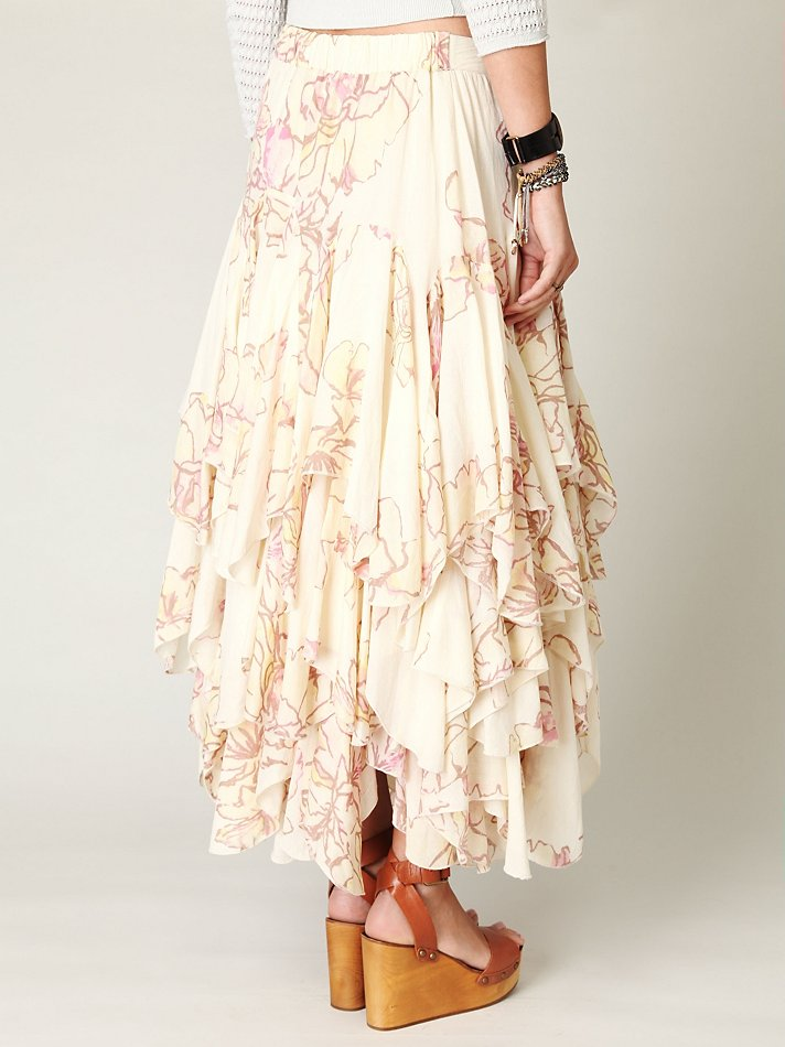 86824adc35 Free People Rounded Godet Maxi Skirt in Natural - Lyst
