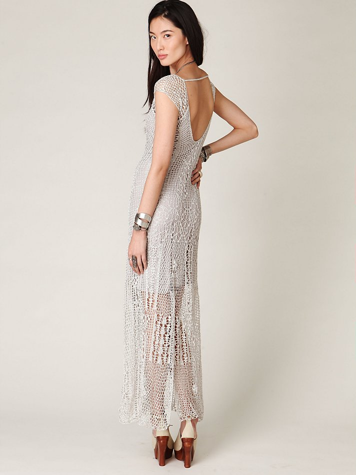 88d8565c65d Lyst - Free People Fp Spun Dreams Of Crochet Dress in Metallic