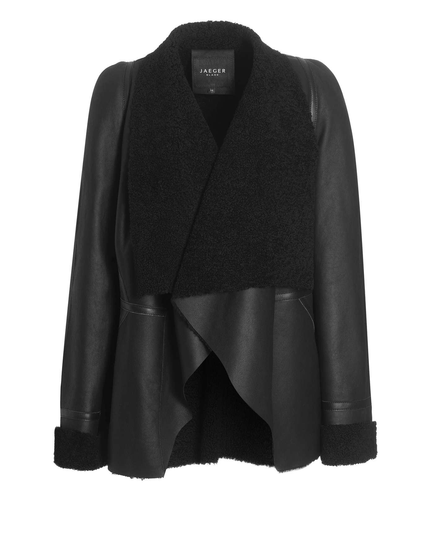 Jaeger Sheepskin Waterfall Jacket in Black | Lyst