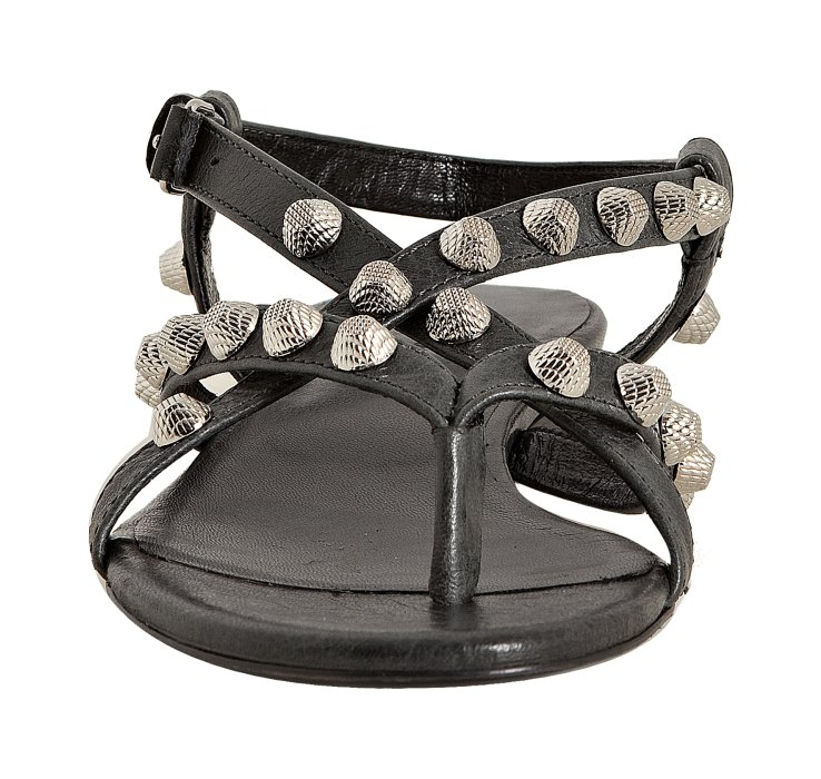 1eabea92d33c3 Balenciaga Anthracite Leather Studded Arena Flat Thong Sandals in Gray -  Lyst