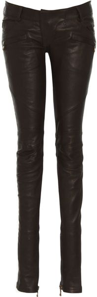 Balmain Leather Moto Pant in Black