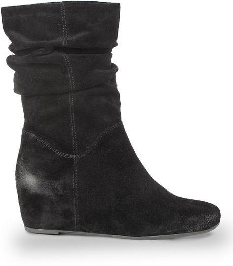 franco sarto itra suede wedge boots in black black suede