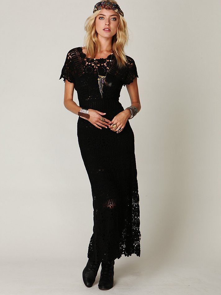 Lyst Free People Hand Crochet Maxi Dress In Black