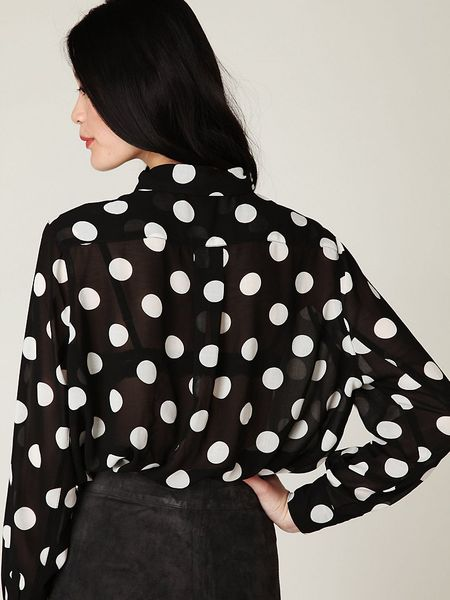 Rockabilly White polka dot blouse Chiffon turtle collar blouson Party high stand collar blouse drapery collar blouse Hipster Pin Up top 50% OFF SALE Vintage BOHO polka dot shirt // black polka dot blouse // retro polka dot top // formal polka dot shirt // small // boxy 80's a BeigeVintageCo. 5 out of 5 stars (1,) $