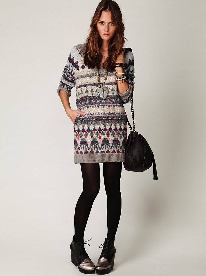 Free people Eagle Fairisle Tunic in Blue | Lyst