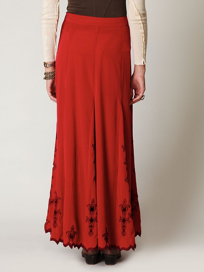 02102764d4 Free People Fleur Godet Maxi Skirt in Red - Lyst
