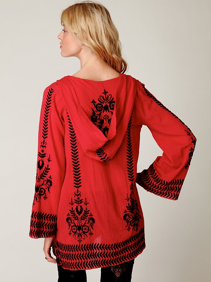 Lyst Free People Embroidered Flora Pullover In Red