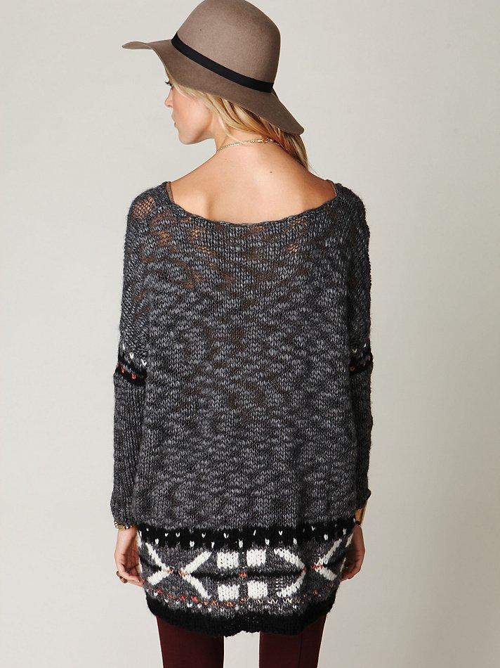 Free people Oversized Fairisle Trimmed Sweater in Gray | Lyst