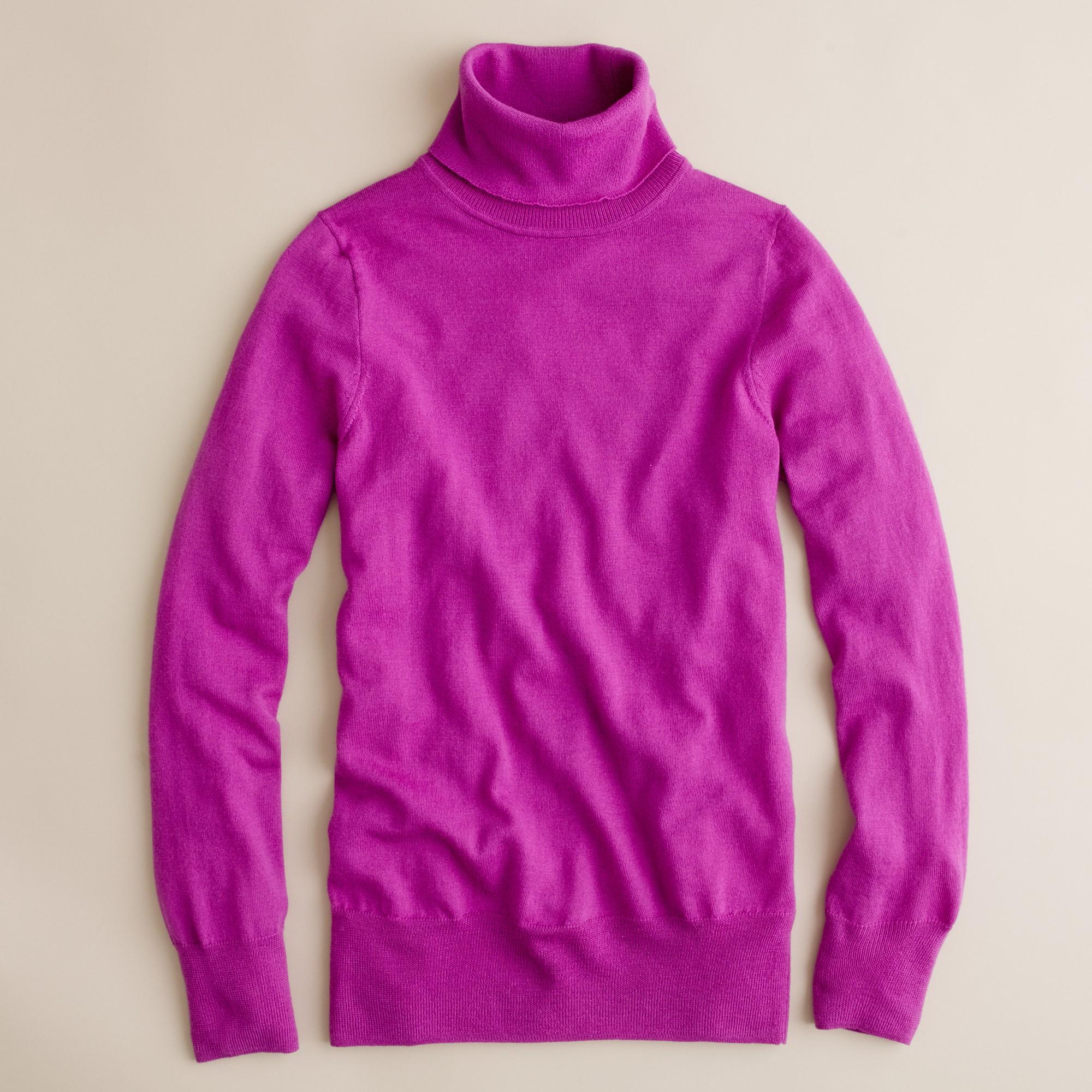 J.crew Merino Turtleneck Sweater in Purple | Lyst