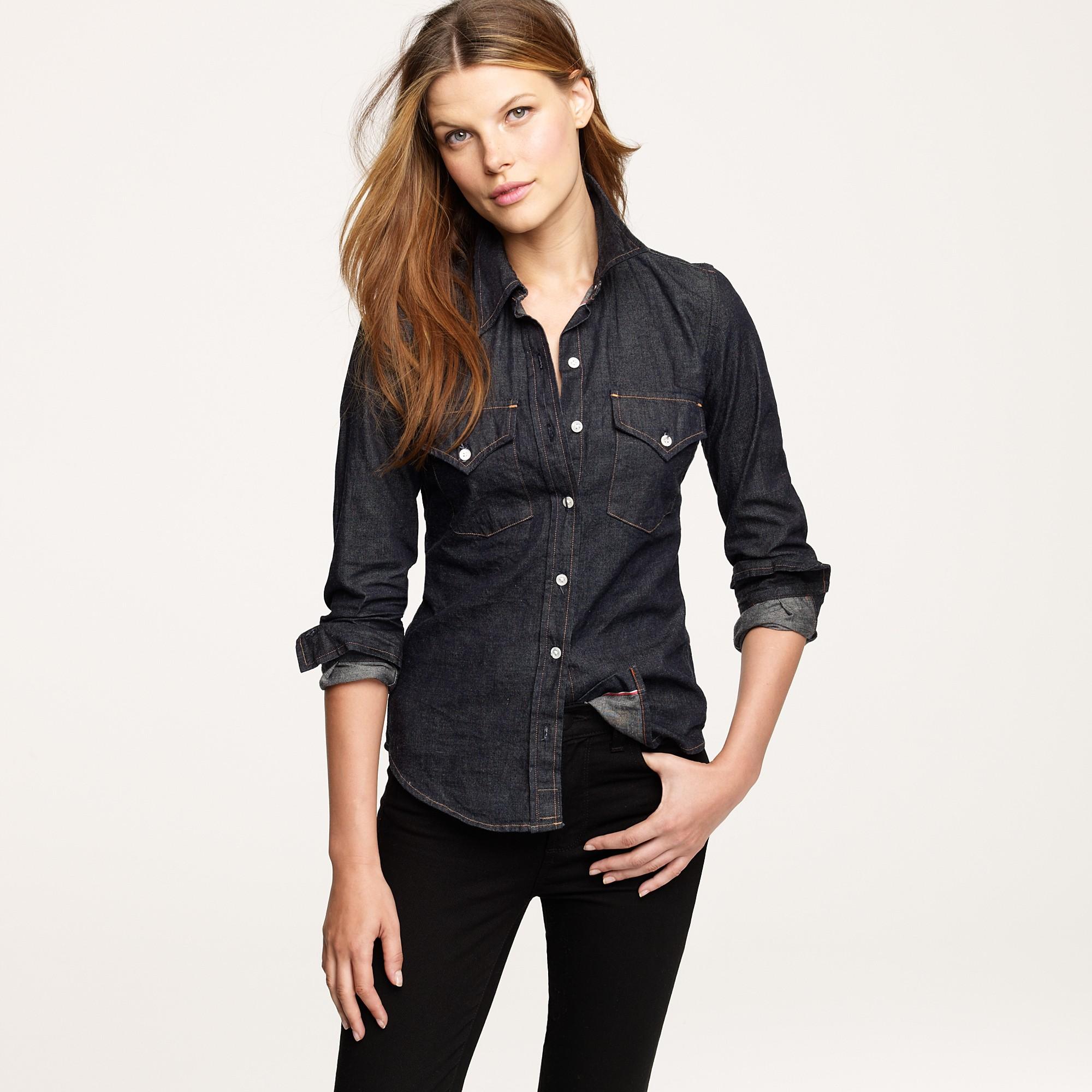 black jean shirt womens
