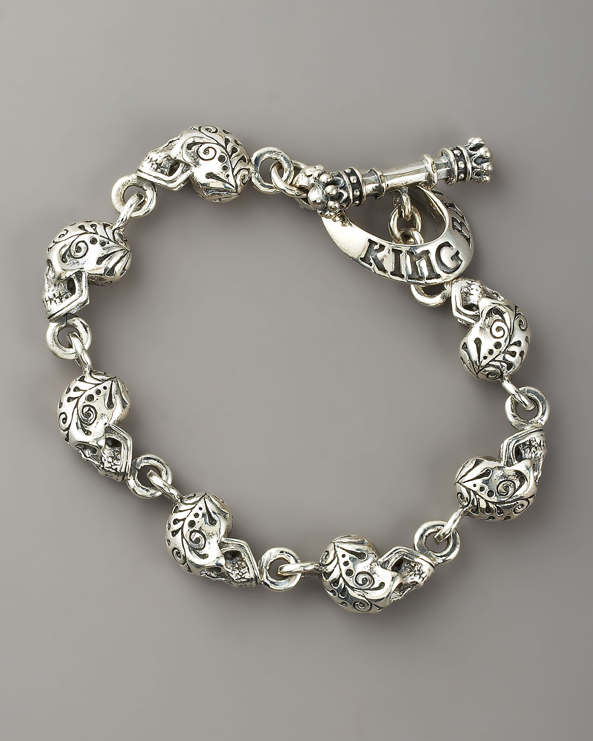 King Baby Studio Day Of The Dead Skull Bracelet In Silver