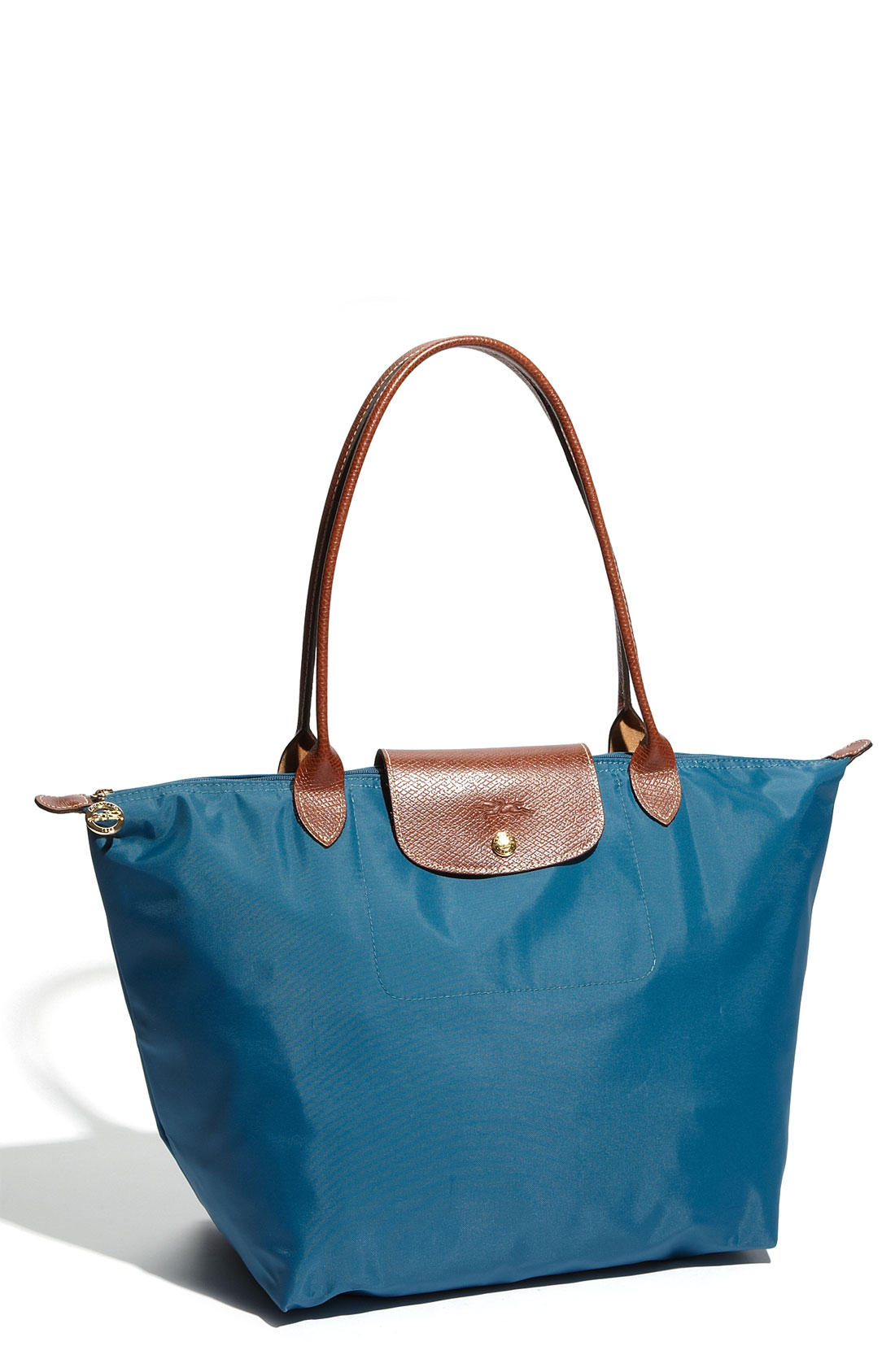 longchamp le pliage large tote in blue cumin lyst. Black Bedroom Furniture Sets. Home Design Ideas
