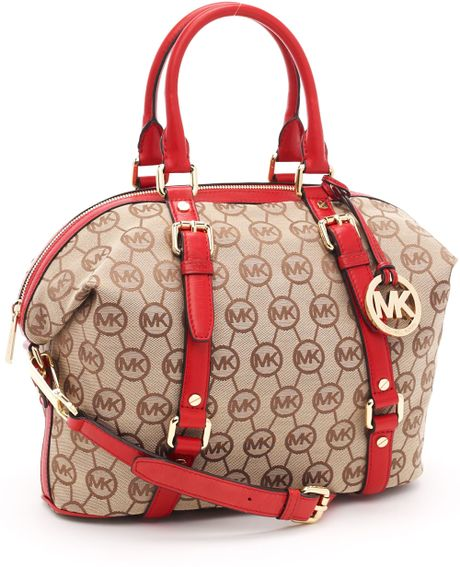 Michael Kors Medium Bedford Monogram Satchel, Beige/red in Brown (beige) - Lyst