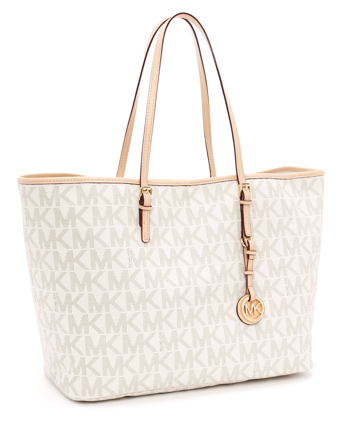5051b1b12ee8d Lyst - Michael Kors Medium Jet Set Logo Travel Tote
