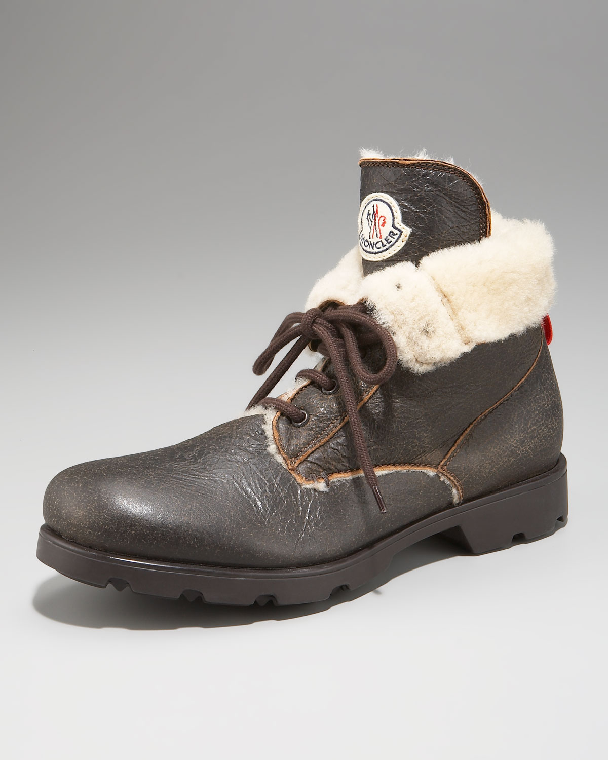 Lyst Moncler Shearling Lined Work Boot In Brown For Men