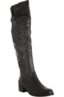 Pour La Victoire Black Leather Vesper Button Detail Tall Boots - Lyst