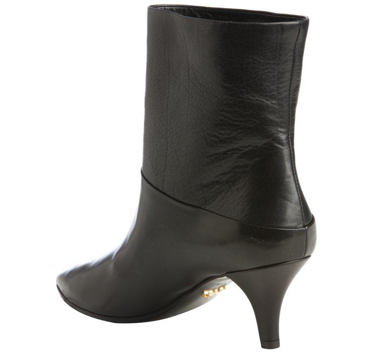 Prada Black Leather Pointed Toe Kitten Heel Boots in Black | Lyst