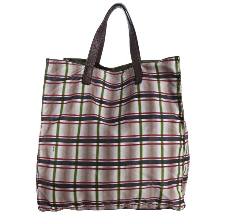 3287d1594a9 ... sweden lyst prada dark brown plaid print nylon reversible shopping tote  efde1 f3525