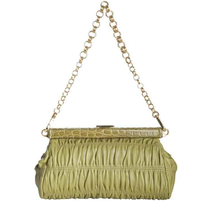 Prada Ivy Quilted Leather Croc Embossed Shoulder Bag in Green | Lyst
