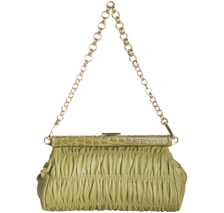 prada brown crocodile expandable large bag