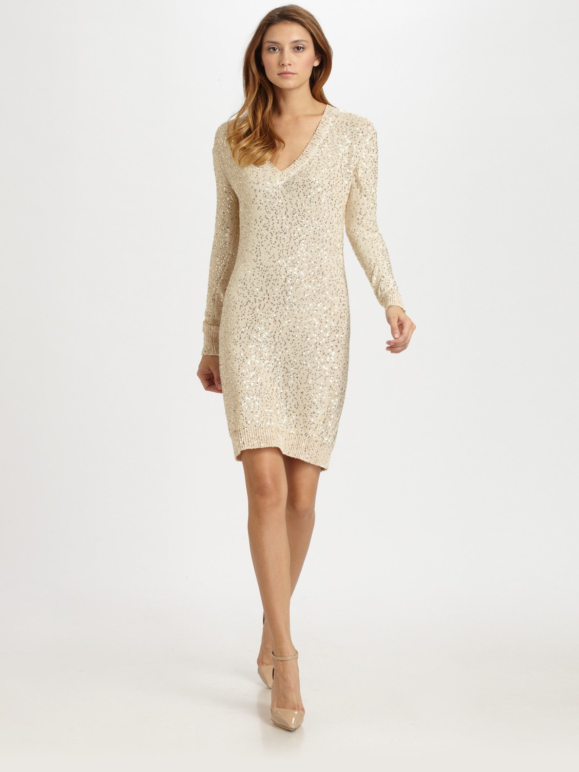 Stella mccartney Sequined Sweater Dress in White  Lyst