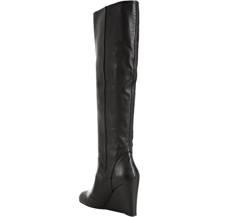 Stuart weitzman Black Leather Linear Tall Wedge Boots in Black | Lyst