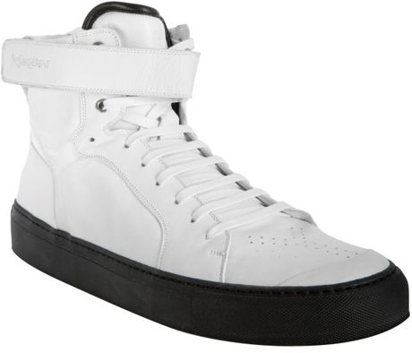 Saint Laurent White Leather Dynasty High Top Sneakers in White for Men