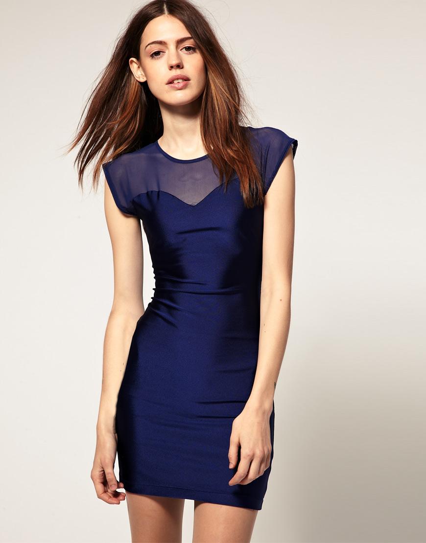 American apparel mesh top mini dress in blue cobaltnavy for American apparel mesh shirt