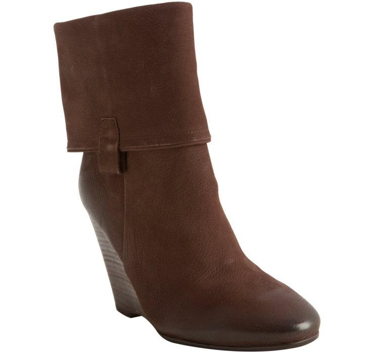 ash date leather original cuffed wedge boots in brown lyst