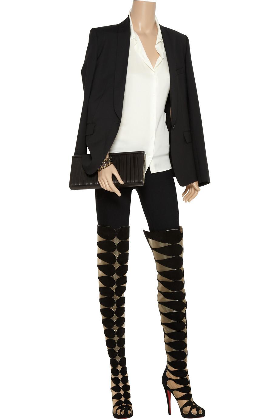 christian louboutin cutout thigh high boots