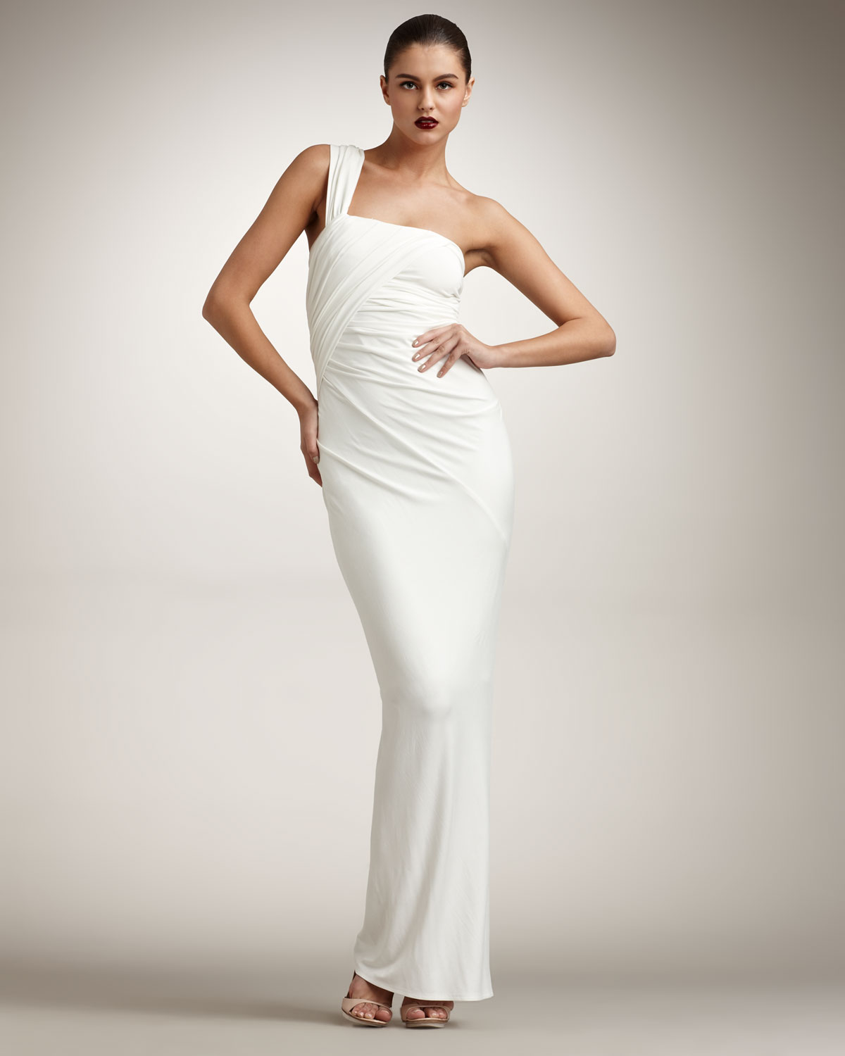 Donna karan twist one shoulder gown in white lyst for Donna karan wedding dresses