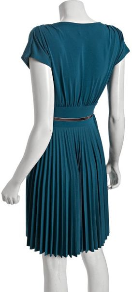 donna teal stretch crepe pleated skirt cap sleeve