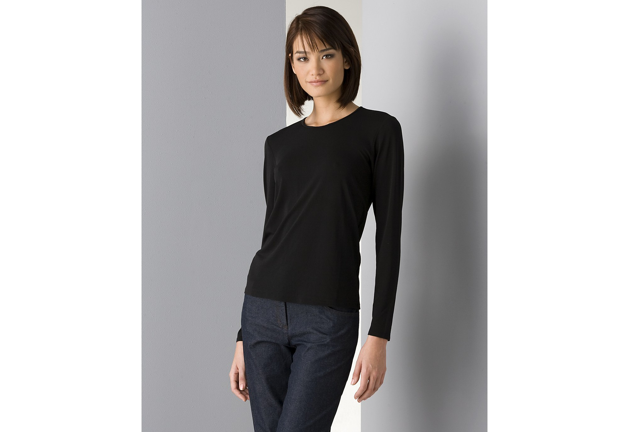 Eileen fisher Women's Long Sleeve Stretch Silk Jersey Crew Neck ...