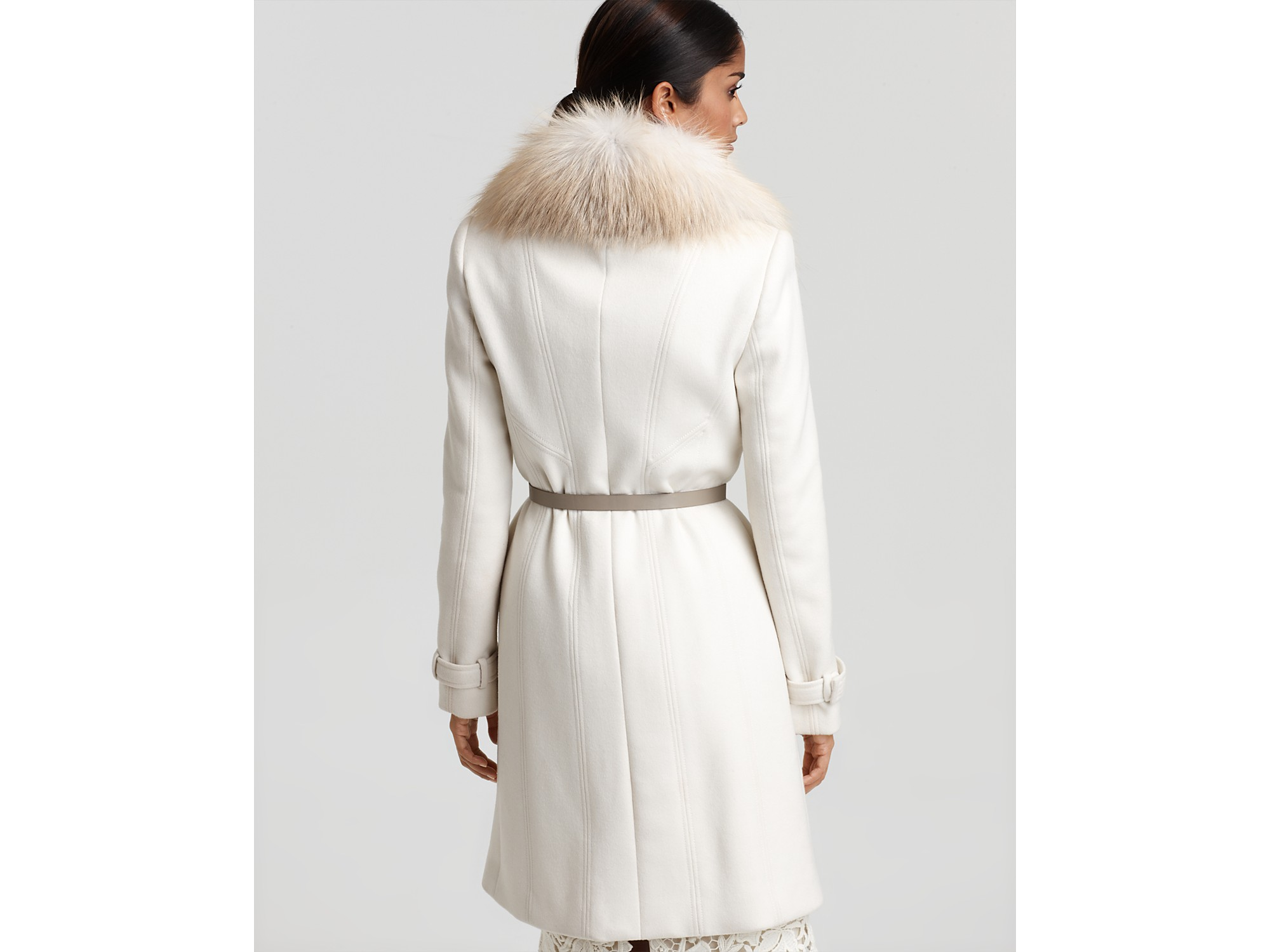 Elie tahari Joanne Wool Coat with Fur Collar and Belt and Bennet ...