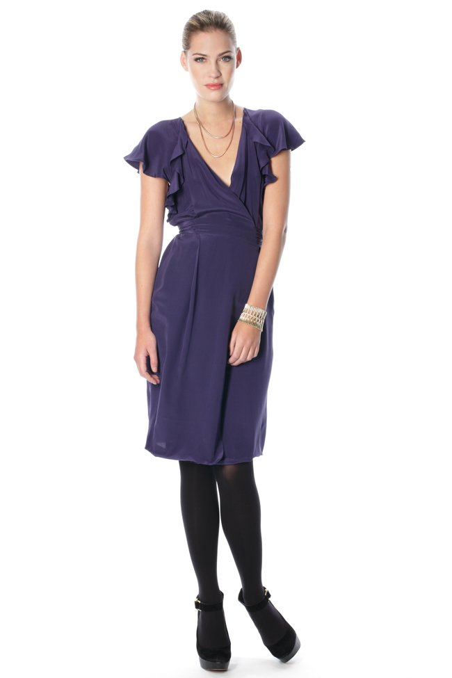 French connection autumn silk waterfall dress in blue lyst for Waterfall design dress