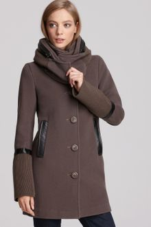 Mackage Single-breasted Coat with Leather Trim - Lyst