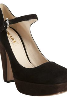 Prada Black Colorblock Suede Platform Mary Jane Pumps - Lyst