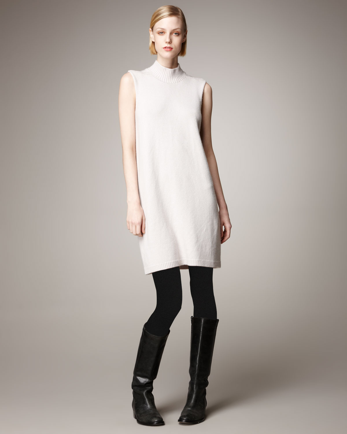 Rick owens Sleeveless Cashmere Sweater Dress in White | Lyst
