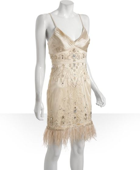 sue wong chagne beaded and jeweled ostrich feather trim