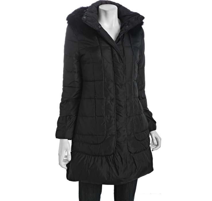 Via Spiga Black Quilted Messina Fur Trim Hooded Down Coat