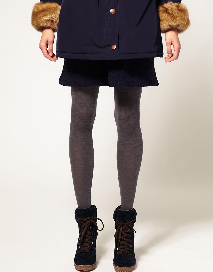 371cbd7778e Lyst - ASOS Collection Asos Merino Wool Mix Tights in Gray