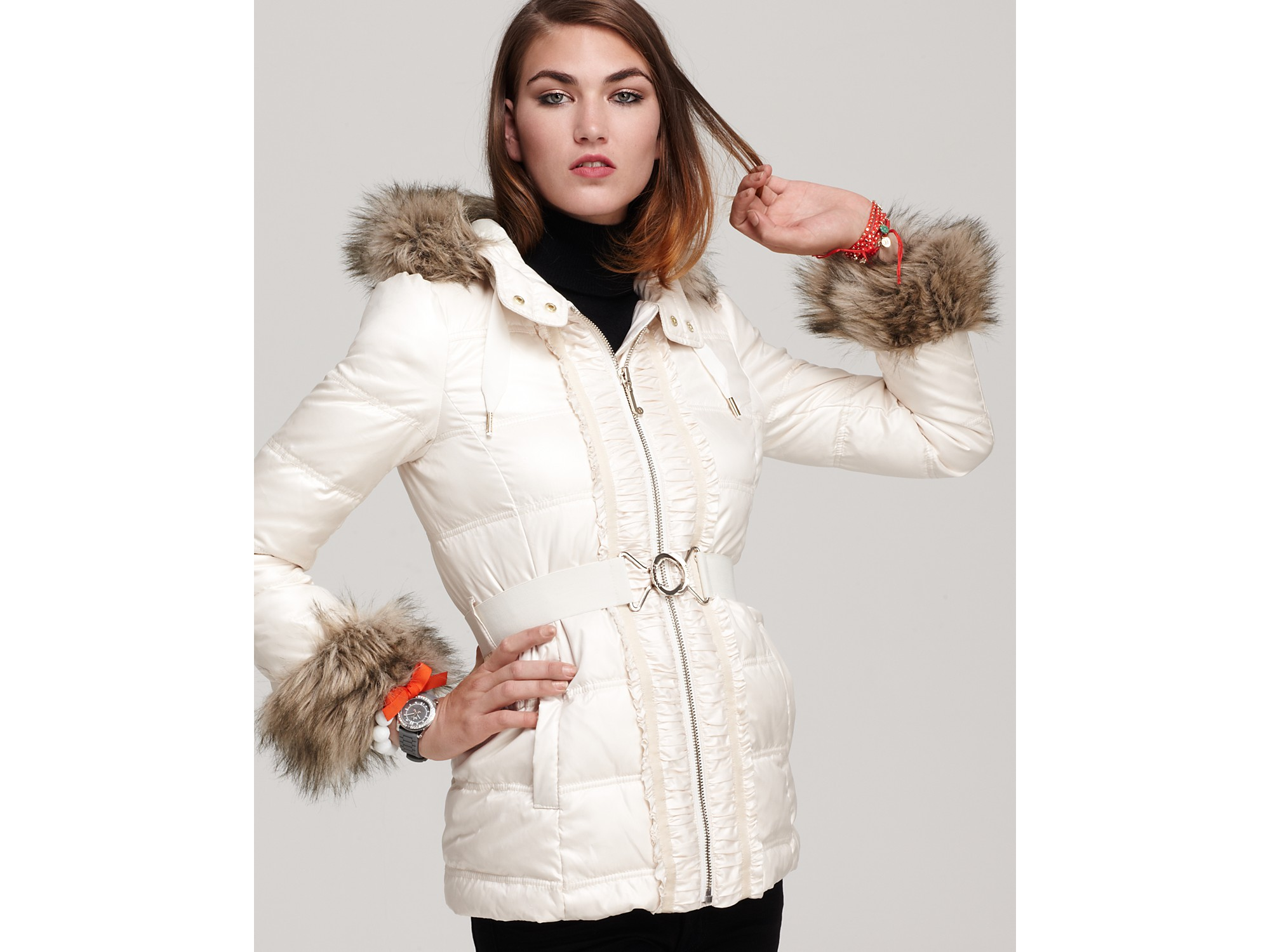 Juicy Couture Puffer Jacket With Faux Fur Trim In White